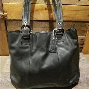 Coach Soho Black Leather North South Tote